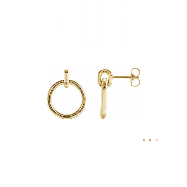14k yellow gold dangle hoop post earrings