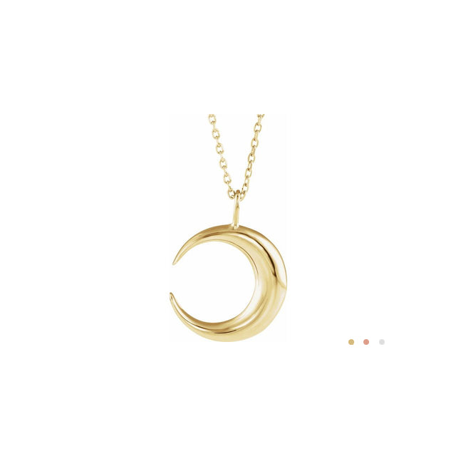 14K Solid Gold Crescent Moon 16-18