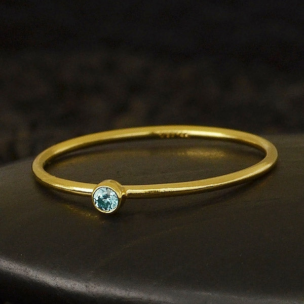 Birthstone CZ Stacking Rings - Gold Filled or Sterling Silver