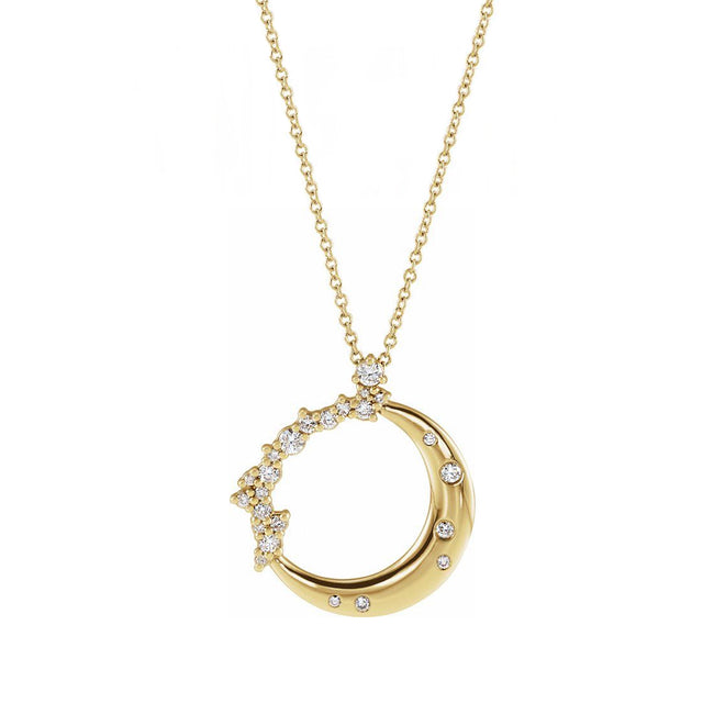 diamond encrusted moon pendant necklace 14k yellow gold