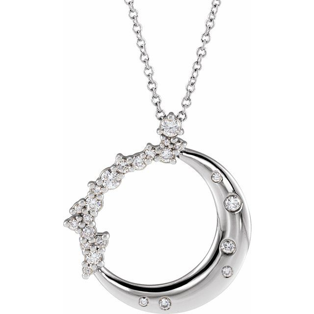 white gold crescent moon necklace with diamonds