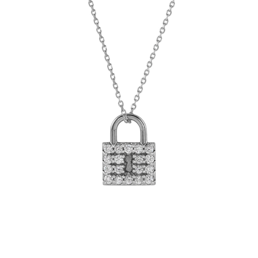 Diamond Lock Pendant Necklace 14K White Solid Gold  | Abrau Jewelry
