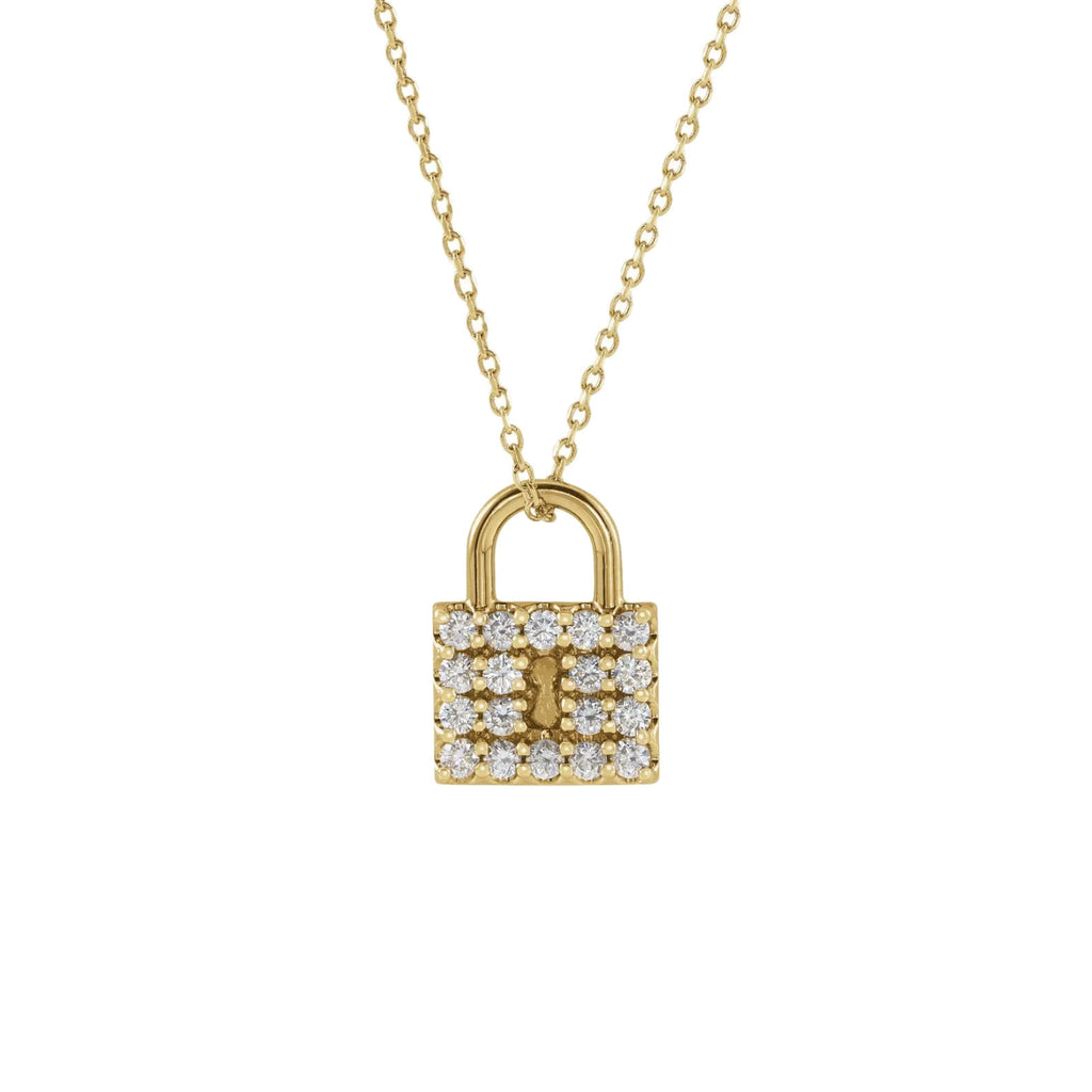 14K yellow gold Diamond Lock Pendant Necklace | Abrau Jewelry