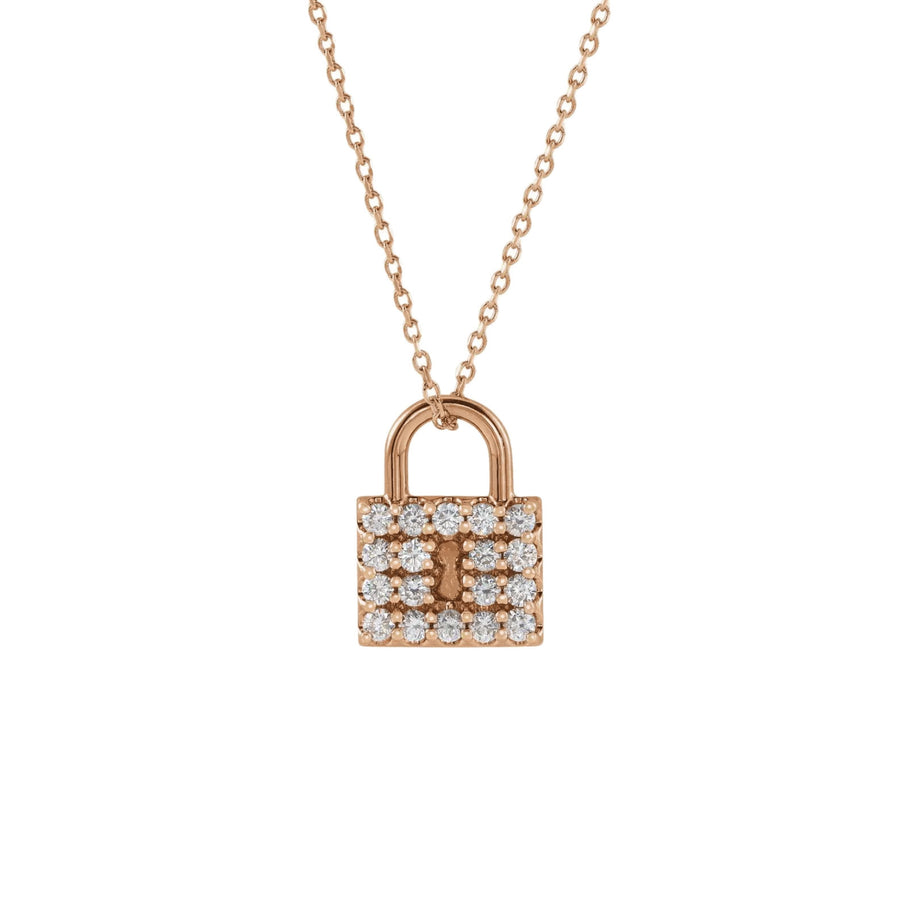 Diamond Lock Pendant Necklace Rose Gold | Abrau Jewelry