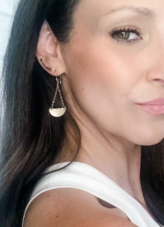 gold filled hammered crescent moon chain long everyday earrings