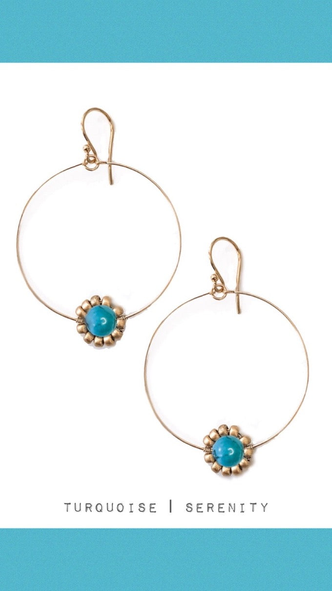 Turquoise Howlite Gemstone Daisy Hoop Earrings in Gold or Silver