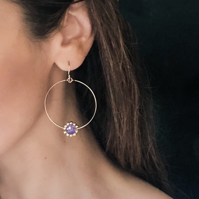 Amethyst Gemstone Daisy Flower Hoop Earrings