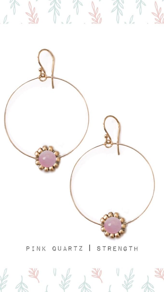 Pink Quartz Gemstone Daisy Hoop Earrings in Sterling silver or gold