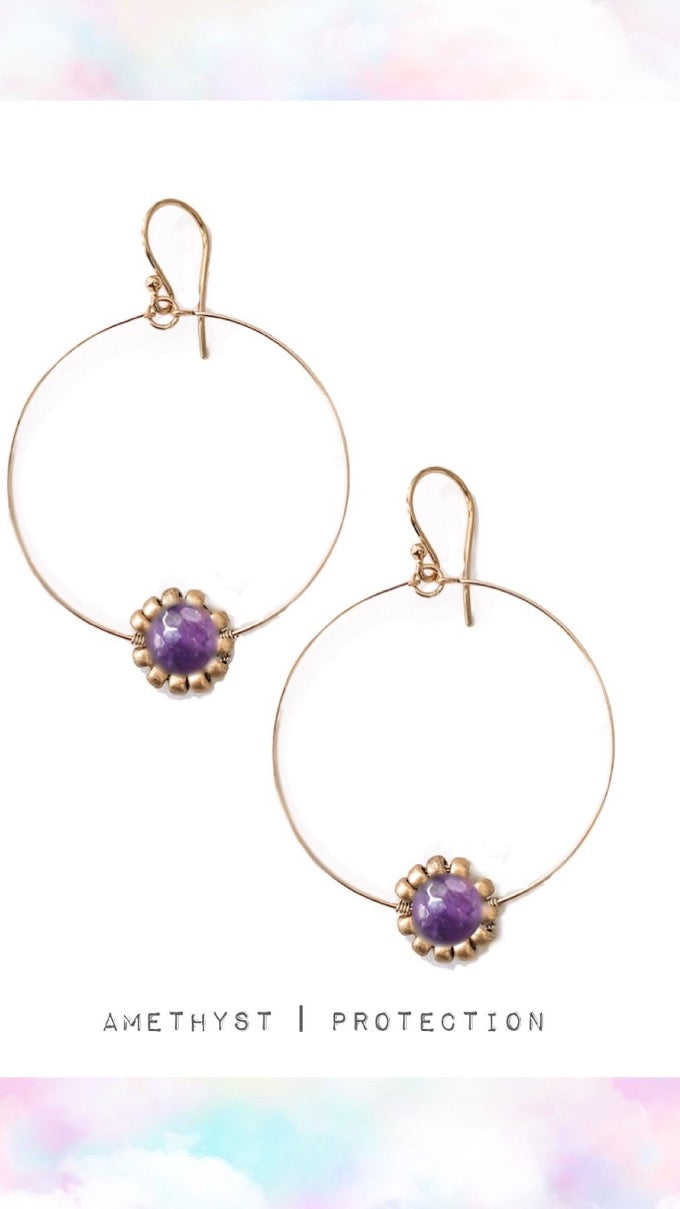 Daisy Flower Gemstone Hoop Earrings - Silver or Gold {More Options}
