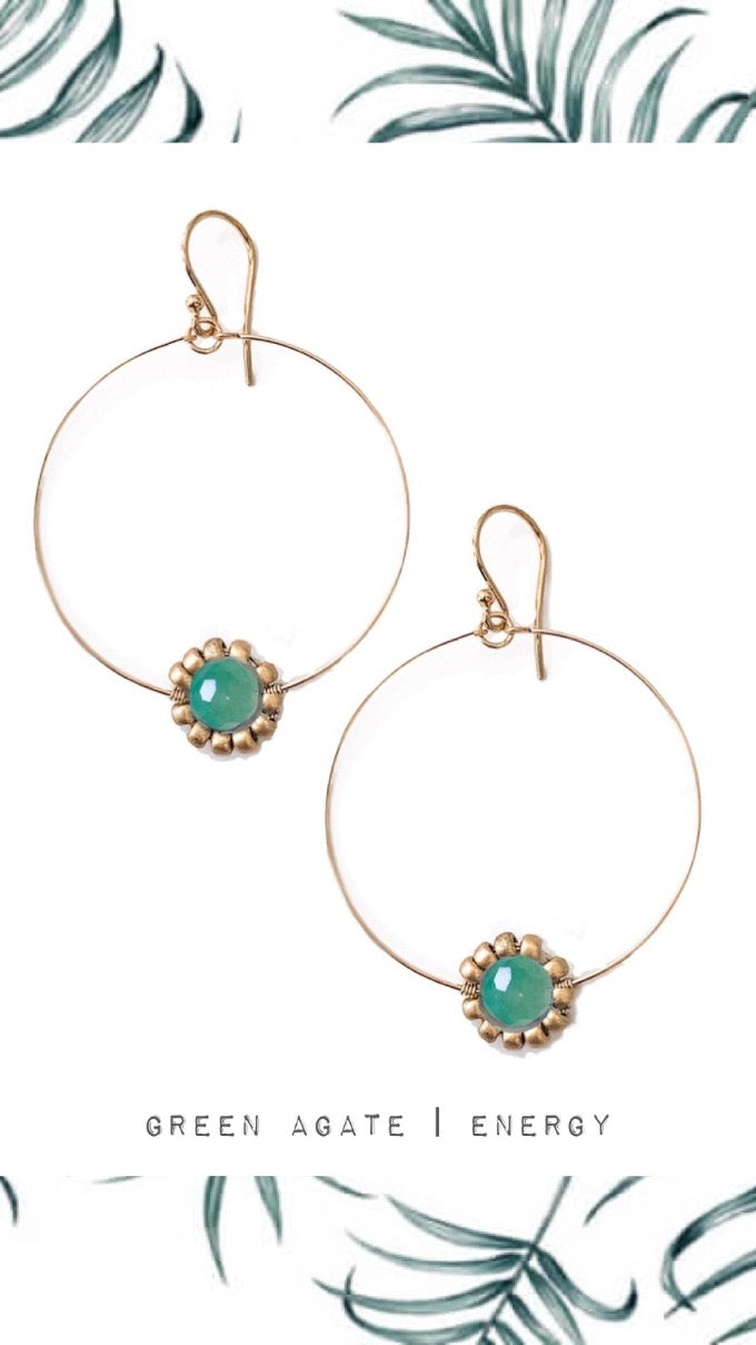 Green Agate Gemstone Daisy Hoop Earrings in Gold or Silver