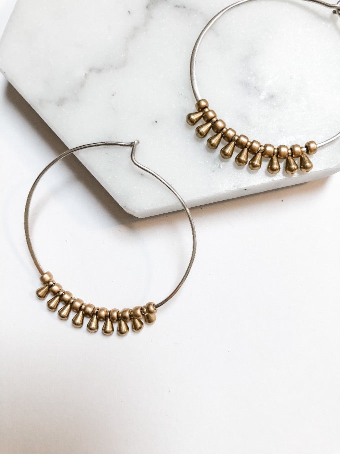 Unique Beaded Hoops in Sterling Silver and Gold