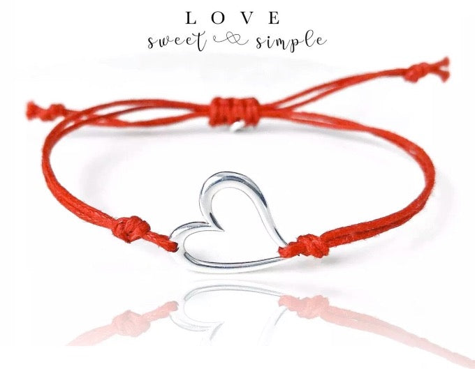 Sterling silver heart love friendship bracelet with red cord