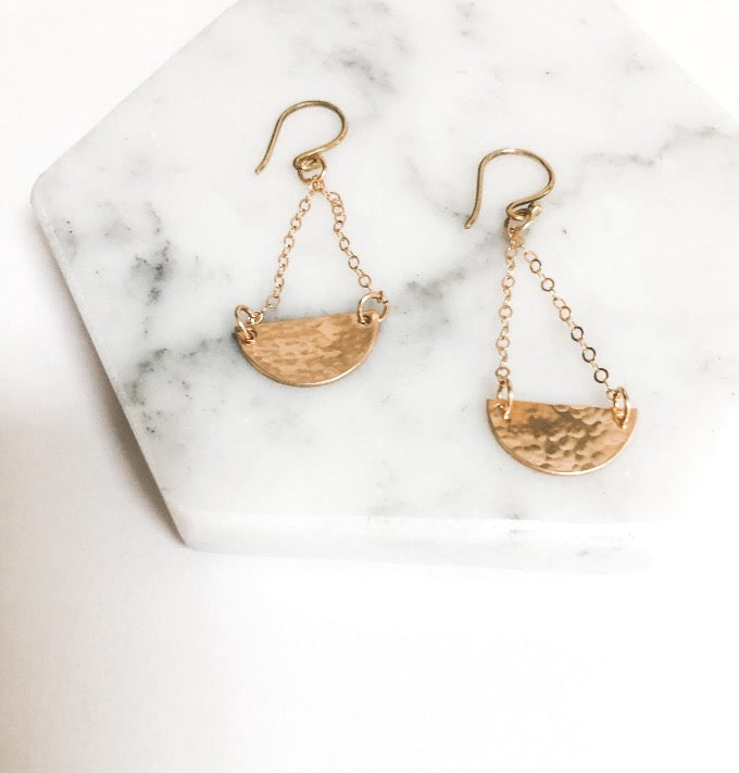 hammered crescent moon artisan earrings in gold filled