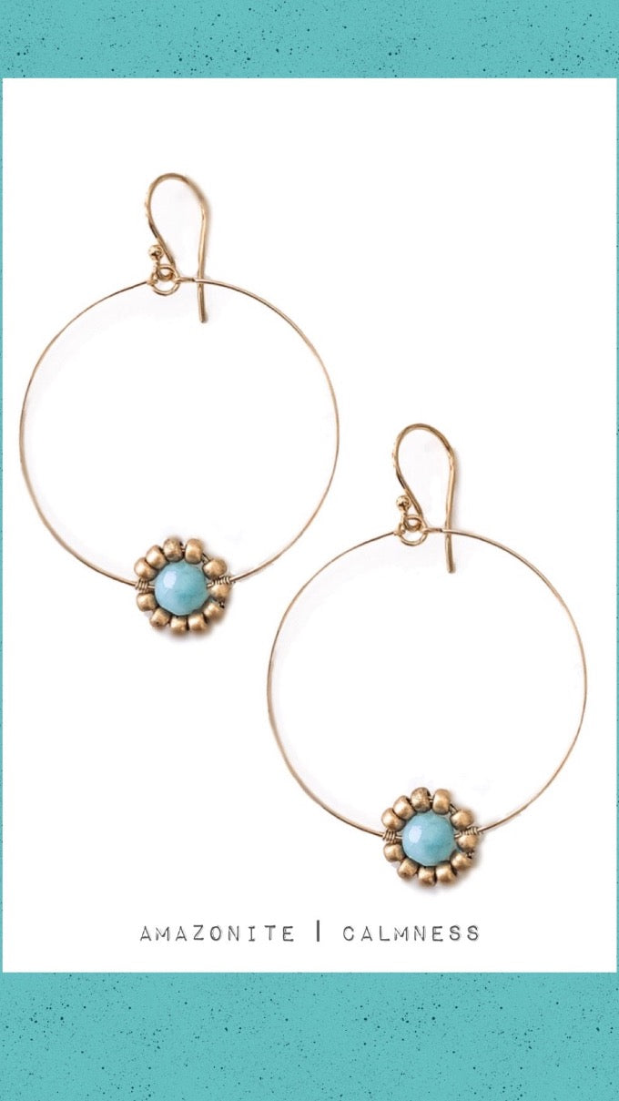 Amazonite Gemstone Daisy Hoop Earrings in Gold or Silver