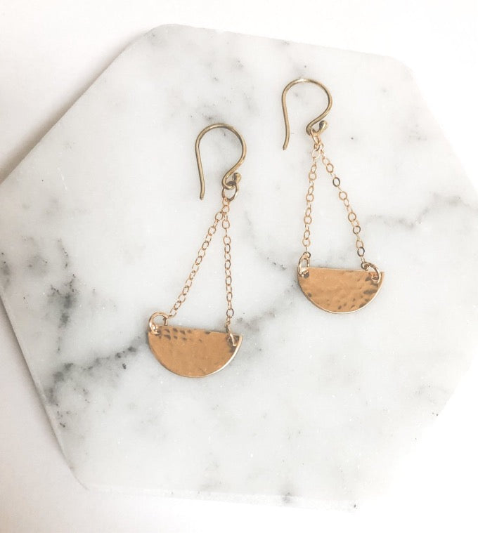 Hammered disc metal earrings in gold filled