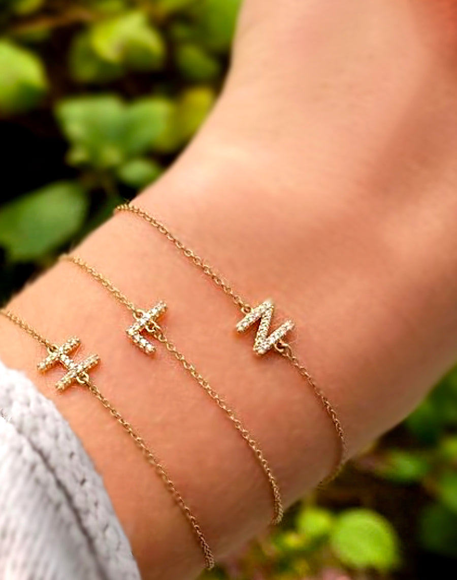 Delicate Pave Diamond Initial Letter Bracelet - 14K Solid White or Yellow Gold
