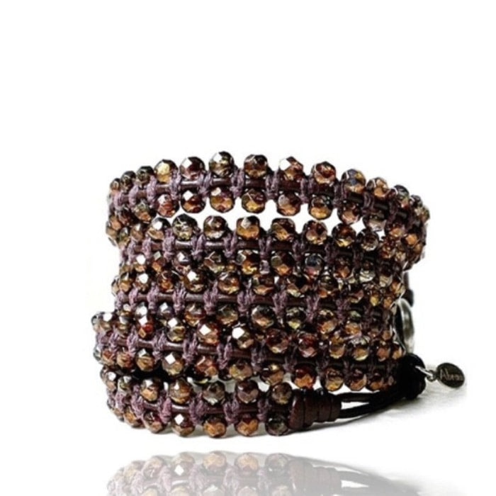 brown faceted beaded wrap bracelet