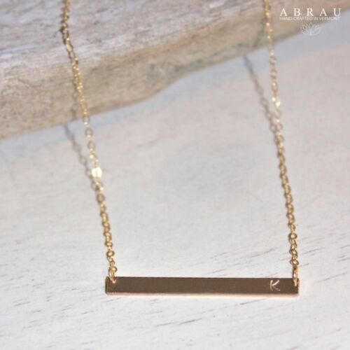 Horizontal Bar Personalized Hand Stamped Necklace