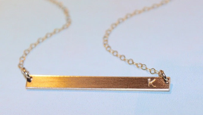 Hand Stamped Personalized Bar Necklace in Gold