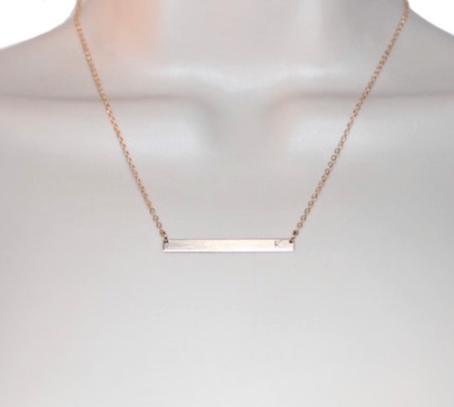 Horizontal Bar Necklace Hand Stamped
