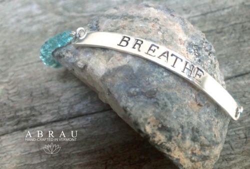 personalized hand stamped ID bar bracelet with gemstones