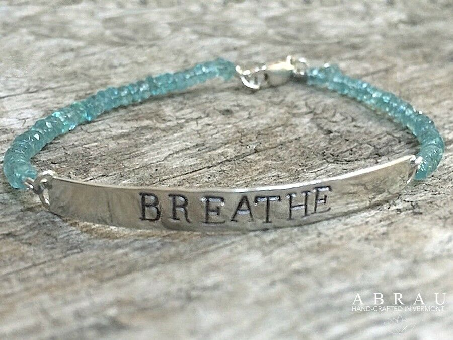 faceted apatite blue gemstone sterling silver ID bracelet hand-stamped