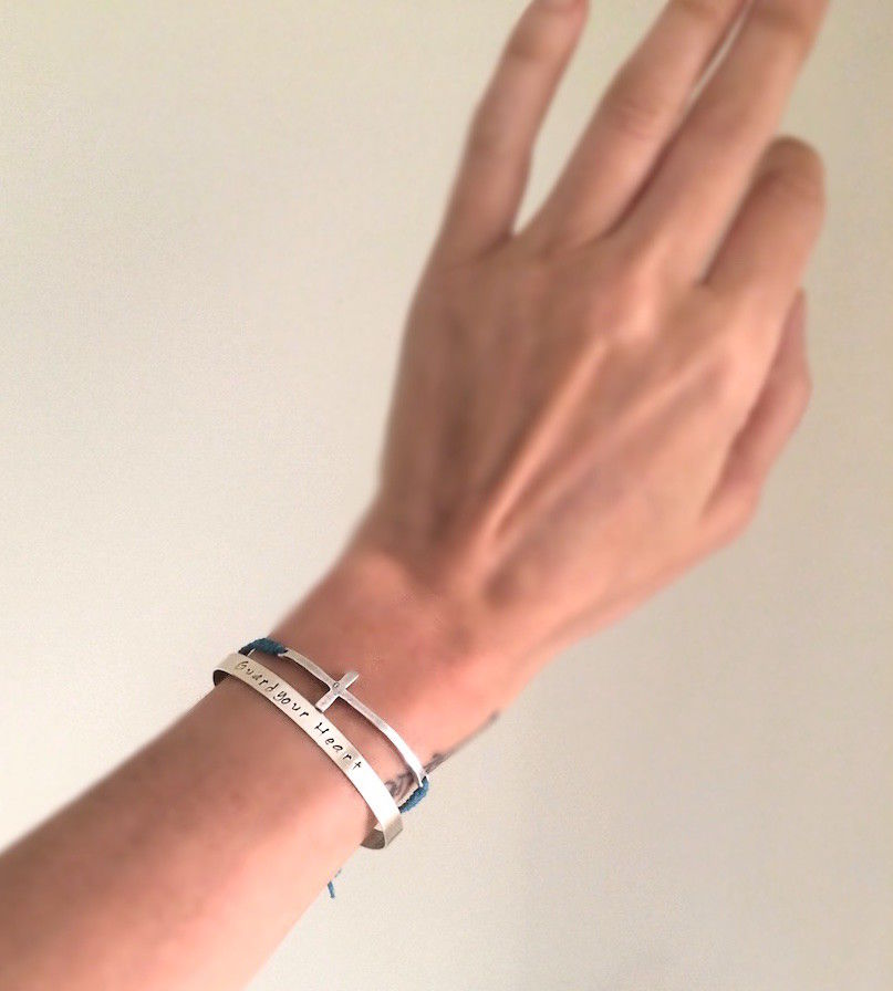 Stacked Sterling Silver Bracelets Cross and Cuff in Sterling Silver