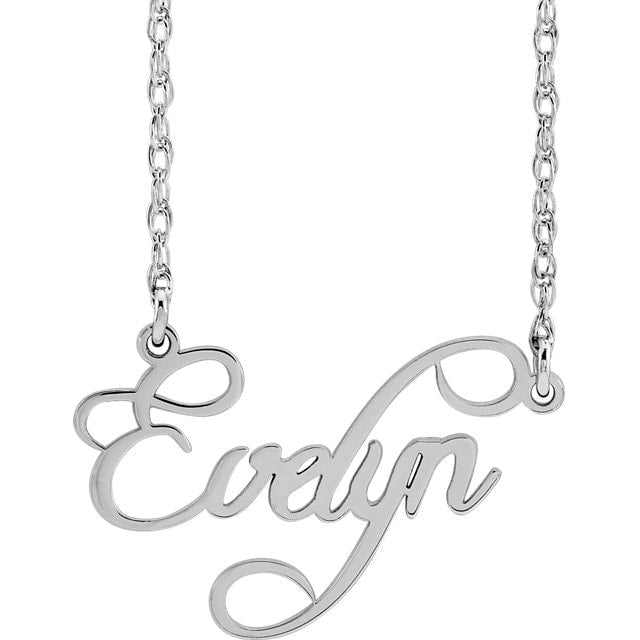 personalized name plate necklace in script