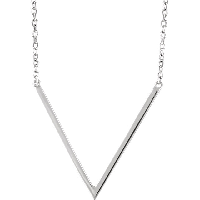 White Gold Chevron Necklace