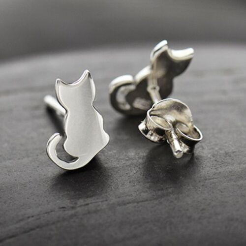 Sterling silver kitty cat stud post earrings