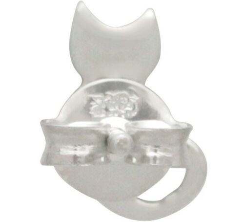 Kitty Cat Stud Post Earrings - Sterling Silver .925