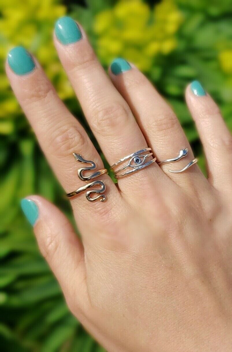Wrap Snake Ring in Sterling silver and gold bronze