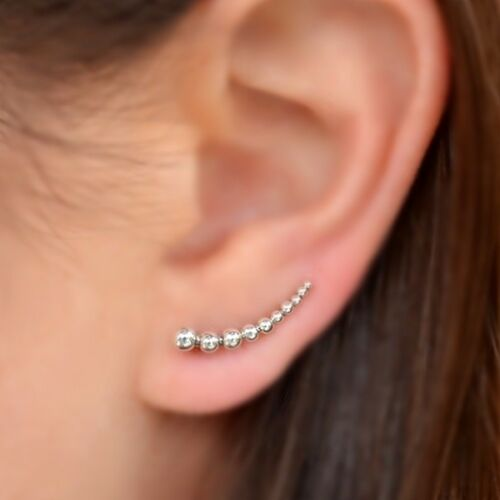 Sterling silver granulated beaded ear climbers