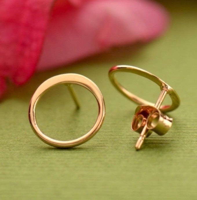 Rose gold circle stud post earrings
