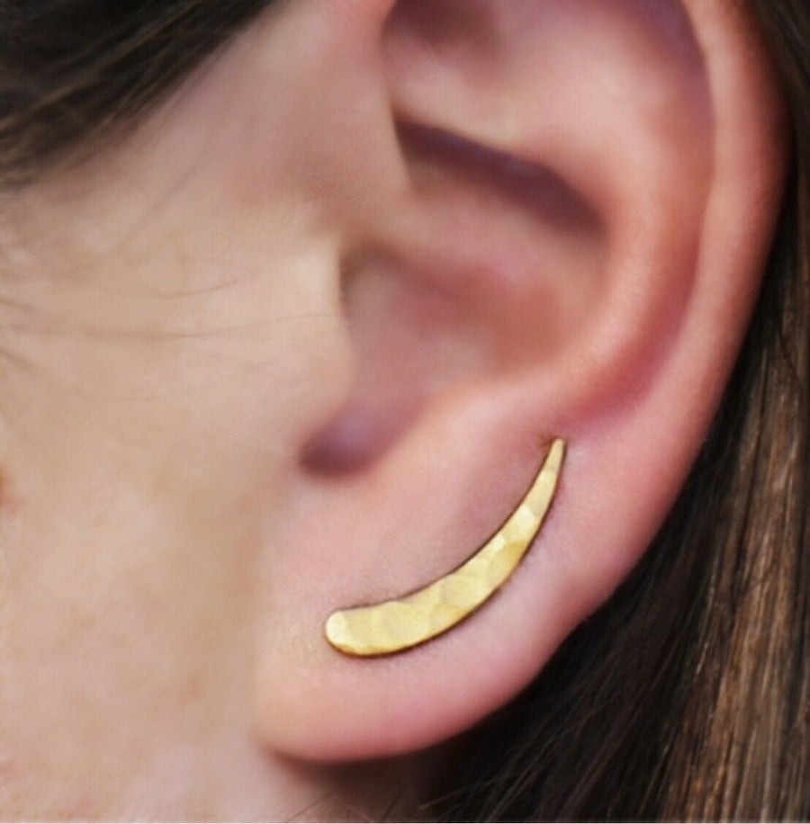 matte gold vermeil hammered ear climbers earrings