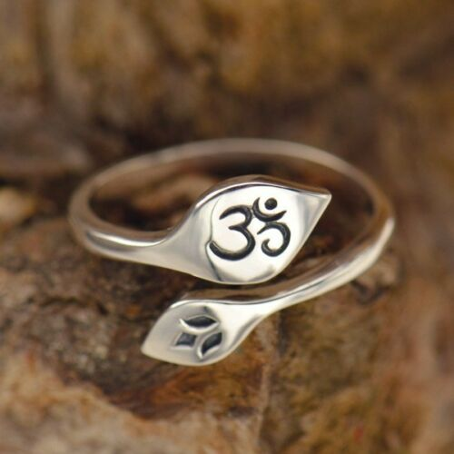 lotus ohm stamped adjustable sterling silver ring