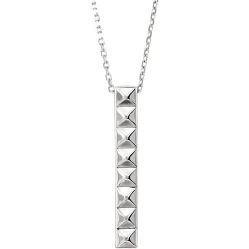 pyramid bar sterling silver necklace