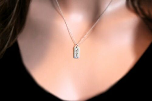 Fearless stamped charm necklace in sterling silver