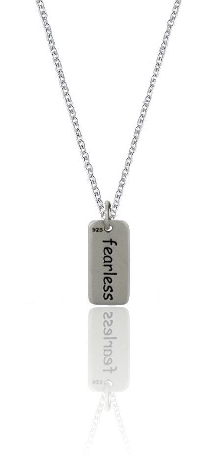 Fearless Message Saying Word Charm Pendant Necklace 16-18