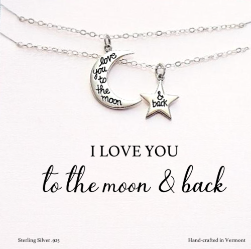 sterling silver moon star mom daughter gift set