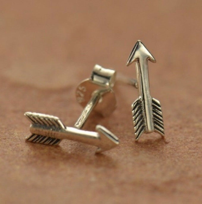 Boho Style Arrow Post Stud Earrings in Sterling Silver .925