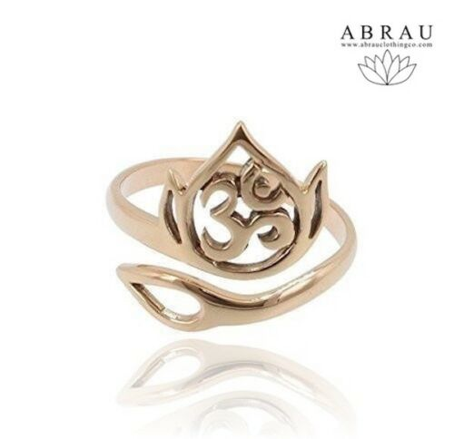 Yoga Jewelry - Adjustable Gold Ring - Lotus Ohm Aum