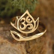 Bronze Gold Adjustable Ohm Lotus Ring