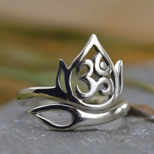 Openwork Lotus and Om / Ohm Adjustable Ring - Bronze Gold or Sterling Silver .925