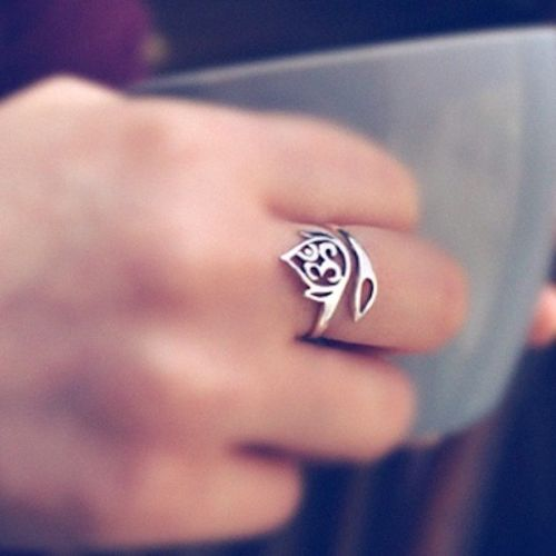 Yoga Ring - Ohm Om Aum Lotus Sterling Silver Adjustable Wrap Ring