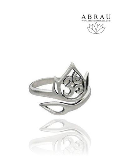 Sterling silver lotus ohm aum om adjustable wrap ring