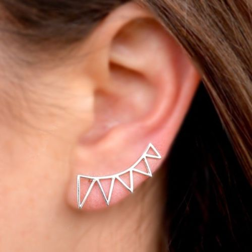 Triangle Flag Sterling Silver .925 Ear Climber Earrings