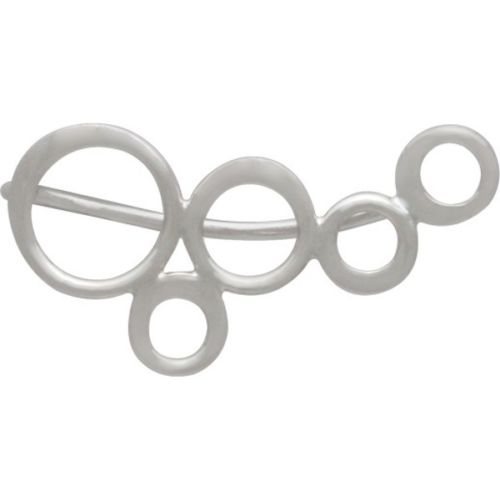 Simple Minimalist Bubbles Circles Ear Climbers Earrings - Sterling Silver .925