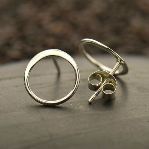 sterling silver open circle karma stud post earrings
