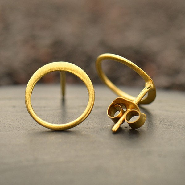matte 24k gold vermeil open circle post stud earrings